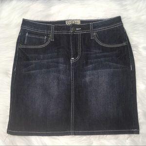 Earl Jean 2 denim jeans mini skirt darkwash VGUC